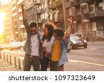 group of friends hangout at the ... | Shutterstock . vector #1097323649