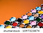 colorful paint cans set | Shutterstock . vector #1097323874