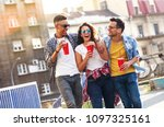 group of friends hangout at the ... | Shutterstock . vector #1097325161