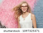 portrait of a young blonde... | Shutterstock . vector #1097325371