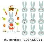 set of cute cartoon rabbit with ... | Shutterstock .eps vector #1097327711