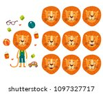 set of cute cartoon lion with... | Shutterstock .eps vector #1097327717