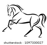 Stock vector a sketch of a freely cantering horse 1097330027