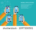 mobile applications concept.... | Shutterstock .eps vector #1097330501
