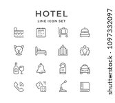 set line icons of hotel | Shutterstock .eps vector #1097332097