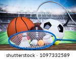 sport equipment and balls ... | Shutterstock . vector #1097332589