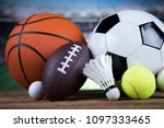 sport equipment  soccer tennis... | Shutterstock . vector #1097333465