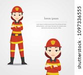 female fire rescue character...   Shutterstock .eps vector #1097336555