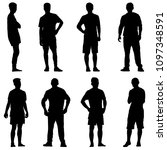 set black silhouette man... | Shutterstock . vector #1097348591