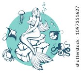 mermaid. hand drawn mermaid.... | Shutterstock .eps vector #1097351627