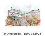 edinburgh castle is a historic... | Shutterstock .eps vector #1097353925