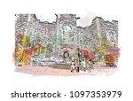 edinburgh castle is a historic... | Shutterstock .eps vector #1097353979