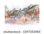 edinburgh castle is a historic... | Shutterstock .eps vector #1097353985