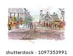 edinburgh castle is a historic... | Shutterstock .eps vector #1097353991