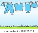 Stock vector baby boy clothes on clothesline hand drawn illustration 109735514
