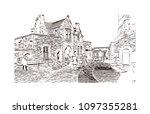 edinburgh castle is a historic... | Shutterstock .eps vector #1097355281