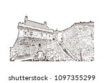 edinburgh castle is a historic... | Shutterstock .eps vector #1097355299