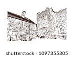 edinburgh castle is a historic... | Shutterstock .eps vector #1097355305
