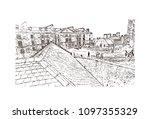 edinburgh castle is a historic... | Shutterstock .eps vector #1097355329