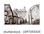 edinburgh castle is a historic... | Shutterstock .eps vector #1097355335