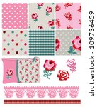 gingham floral vector seamless... | Shutterstock .eps vector #109736459
