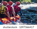 rafting in life jackets  men... | Shutterstock . vector #1097366417