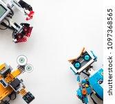 Small photo of Minsk, Belarus. May, 2018. Three robots: Lego Boost, Lego Mindstorms EV3 and Jimu Ubtech. Flat Lay. STEM education. Technology.