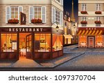 street in the old town of paris ... | Shutterstock .eps vector #1097370704