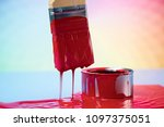 paintbrush on cans with color | Shutterstock . vector #1097375051