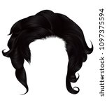 trendy  woman curly hairs black ... | Shutterstock .eps vector #1097375594