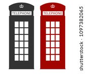 phone booth  london red cabin ... | Shutterstock .eps vector #1097382065