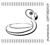 inflatable flamingo sketch.... | Shutterstock .eps vector #1097382419