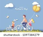 handsome man and his children... | Shutterstock .eps vector #1097384279