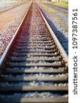 straight railroad track against ... | Shutterstock . vector #1097387561