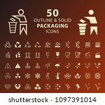 set of 50 outline and solid... | Shutterstock .eps vector #1097391014