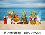 company of attractive...   Shutterstock . vector #1097399207