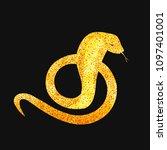 golden snake silhouette curled... | Shutterstock .eps vector #1097401001