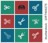 scissor icon. collection of 9... | Shutterstock .eps vector #1097403275