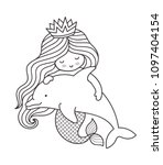 little kawaii mermaid with... | Shutterstock .eps vector #1097404154