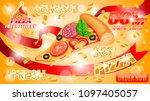 fresh pizza ad poster ...   Shutterstock .eps vector #1097405057