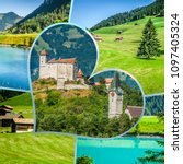collage of tourist photos of... | Shutterstock . vector #1097405324