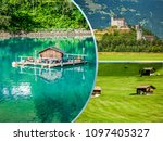 collage of tourist photos of... | Shutterstock . vector #1097405327