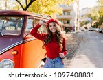 inspired young caucasian lady... | Shutterstock . vector #1097408831