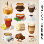 set of delicious hot drinks ... | Shutterstock .eps vector #109741601