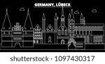 lubeck silhouette skyline.... | Shutterstock .eps vector #1097430317