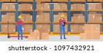 vector warehouse interior with... | Shutterstock .eps vector #1097432921