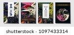 fluid ink paint cover template. ... | Shutterstock .eps vector #1097433314