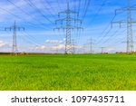 electrical towers. power... | Shutterstock . vector #1097435711