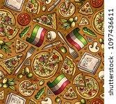 cartoon cute hand drawn italian ... | Shutterstock .eps vector #1097436611