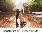 portrait of young happy couple... | Shutterstock . vector #1097440634